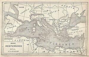 Cartina Geografica Antica.A2925 Mare Mediterraneo Carta Geografica Antica Del 1910 Old Map Ebay