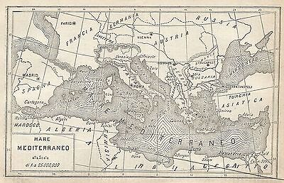 Mare Mediterraneo Cartina.A2925 Mare Mediterraneo Carta Geografica Antica Del 1910 Old Map Ebay