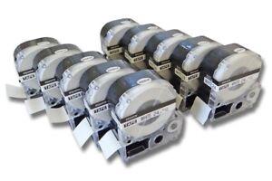 5x  SCHRIFTBAND KASSETTE 12mm SCHWARZ-WEIß für EPSON LabelWorks LW-300
