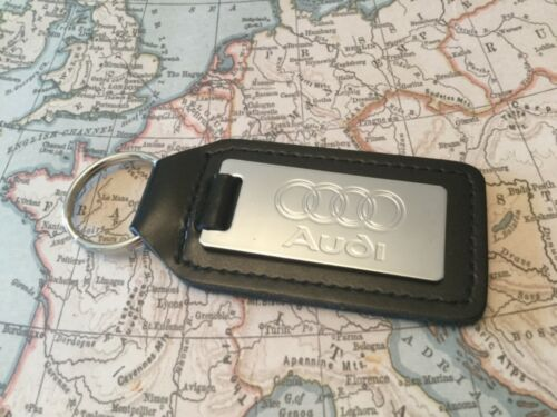AUDI Black Real Leather Keyring   CHROME A 1 2 3 4 5 6 7 8 R Q RS TT