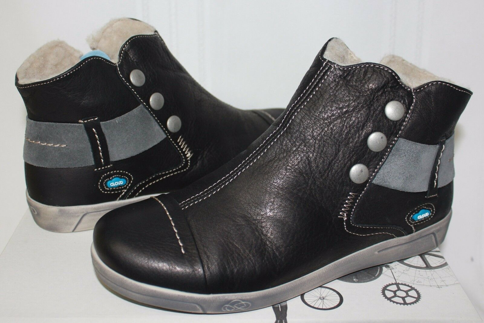 CLOUD Aline sneaker wool-line booties Black Leather NEW WITH BOX!