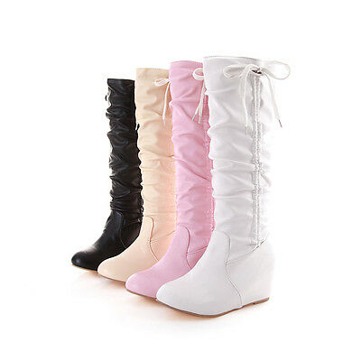 Womens Bow Knee High Boots Pleated Leather Slouch Winter Flat Snow Boot Shoes