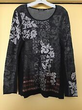 NEW Nic+Zoe Knit Top, Floral Knit Cotton Blend, Long Sleeves, NWOT Size XL