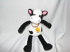 """OLD NAVY STUFFED PLUSH COW BLACK WHITE BELL 10"""" TOY"""