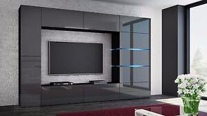Das Bild Wird Geladen Wohnwand SHADOW Grau Hochglanz  Schwarz Anbauwand Mediawand Design
