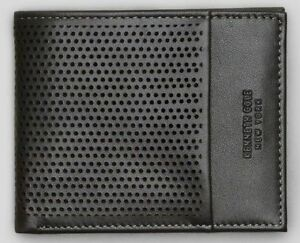 New-Authentic-Kenneth-Cole-Men-039-s-Perforated-Leather-Double-Billfold-Wallet-SALE