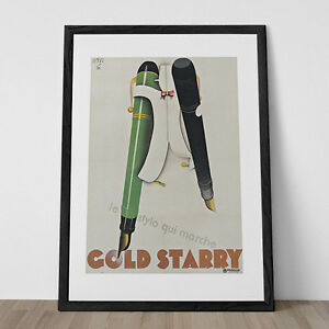 Art Deco Poster Art Deco Giclee Print GOLD STARRY PENS Stati Vintage 1930/'s Ad
