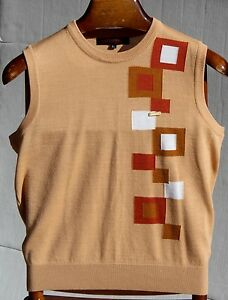Enzoro-Valentino-S-XS-Gent-039-s-Tan-Brown-amp-White-Geometric-Crewneck-Sweater-Vest