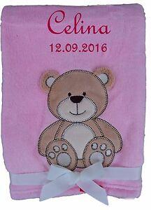 Babydecke pink Hund mit Namen bestickt Baby Decke Taufe Geburt Geschenk Name