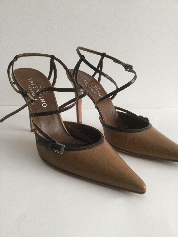 ordinare on-line VALENTINO VALENTINO VALENTINO bi-colore Marrone in Pelle Ad Alta Tacco Sandali Scarpe a punta con cinturini 39 BOX  sconti e altro
