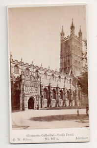 Vintage-CDV-South-Front-Gloucester-Cathedral-England-G-W-Wilson-Ph-Aberdeen