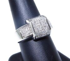 Mens 14k White Gold Princess Cut Invisible Setting 2.50ct Diamond Ring