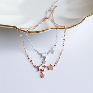 Damen-Fusskettchen-Sterne-echt-Sterling-Silber-925-20-23-cm-Fusskette