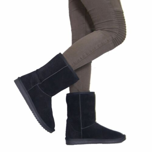 LADIES WOMENS FASHION WINTER SNOW COMFY CASUAL MID CALF FAUX FUR LINED BOOTS