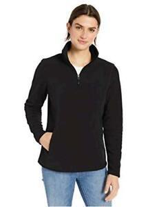 Essentials Women's Quarter-Zip Polar Fleece, Black, Size XX-Large