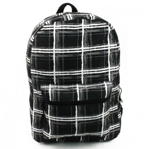 "NEW BLACK School Backpack 17/"" Tablet Laptop  Fashion with stripe Print W//Tags"