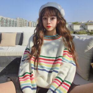 Women-Rainbow-Stripe-Tops-Knit-Sweater-Blouse-Pullover-Jumper-Knitwear-warm-Size