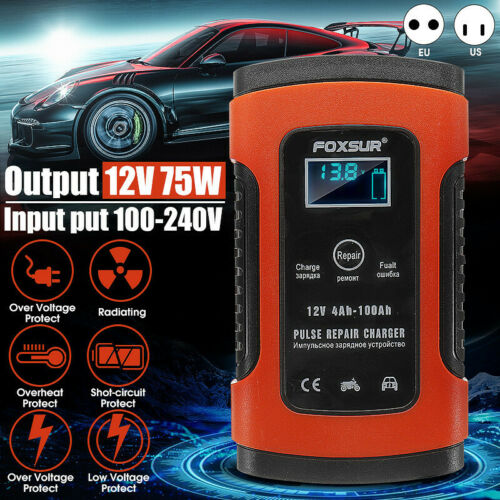 12//24V 4-200AH LCD Auto Pulse Repair Battery Charger For Car Motorcycle AGM
