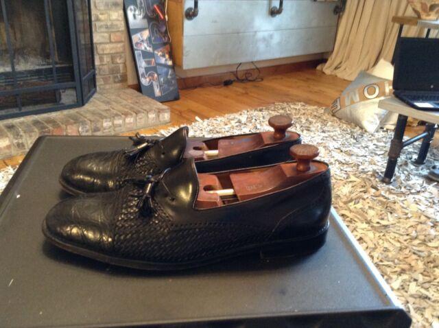 Mezlan Exotic Black Crocodile / Leather Dress Loafers (Shoes) Mens Size 12 M