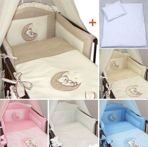 5-teiliges Baby Bettwäsche Set passend zu Gitter-Kinderbett 120x60//140x70