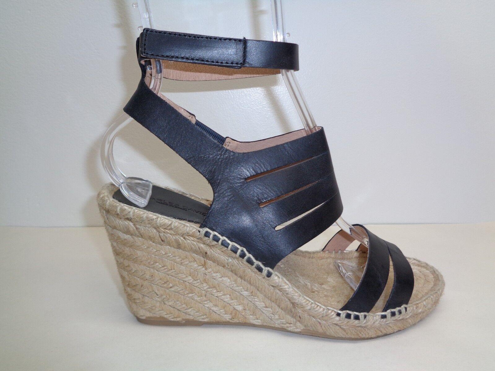 Charles David Talla 9.5 Ona Negro Cuero Nuevos Mujer Mujer Mujer Zapatos Sandalias de cuña de yute  más descuento