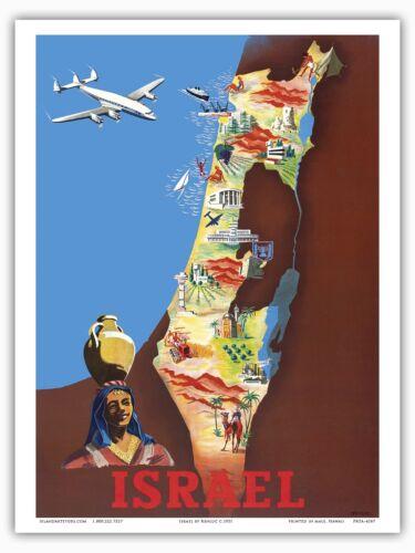 Israel Tel Aviv Jerusalem Vintage Airline Travel Art Poster Print