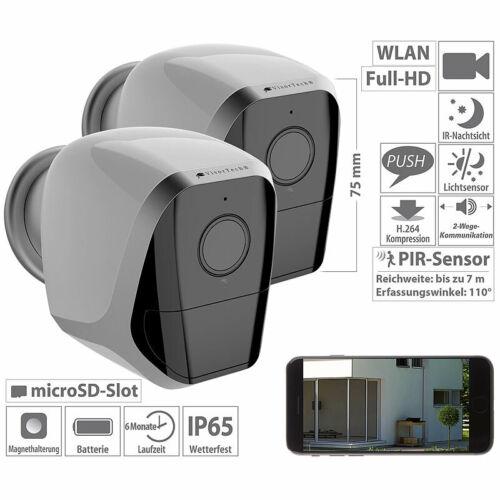 IP65 VisorTech 2er-Set Full-HD-IP-Überwachungskameras mit App und Akku-Betrieb