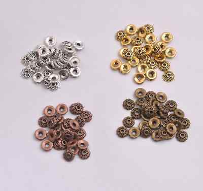 100Pcs Tibetan Silver//Gold//Bronze Flower Spacer Bead Caps Jewelry Findings S3081