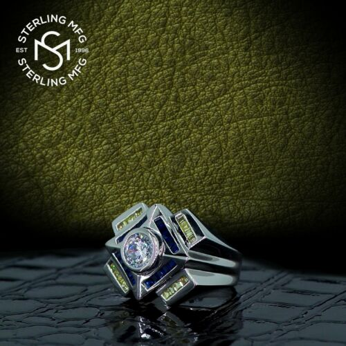 Details about  /Men/'s Real Sterling Silver .925 1.75 Carat Yellow /& Blue CZ Ring w//Gift Box