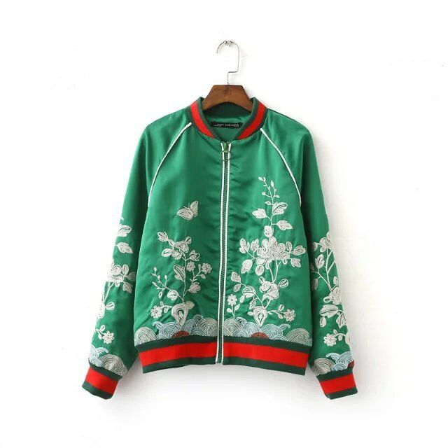 Outerwear womens Satin Butterfly Floral Embroidery Jacket Baseball Bomber new