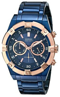 New GUESS Men's Chronograph Blue-Tone Stainless Steel Bracelet Watch U0377G4