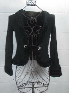 New-Classiques-Entier-Black-Tie-Front-Velvet-Trim-Cardigan-S-Small-NWT-148