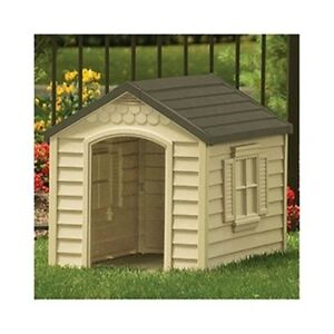 Large dog house all weather outdoor resin durable kennel for Hard plastic dog house