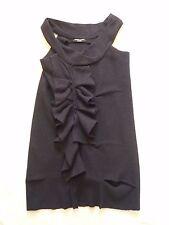 All Saints NEW Peekoa dress in black boiled wool Sleeveless w frill trim UK 10