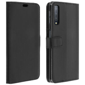 Custodia-Flip-Wallet-slim-cover-per-Samsung-Galaxy-A7-2018-guscio-in-silicone-nero