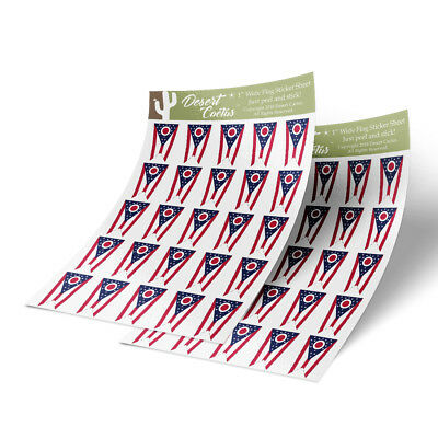 "Ohio Flag Sticker Decal 1/"" Rectangle Two Sheets 50 Total Stickers"