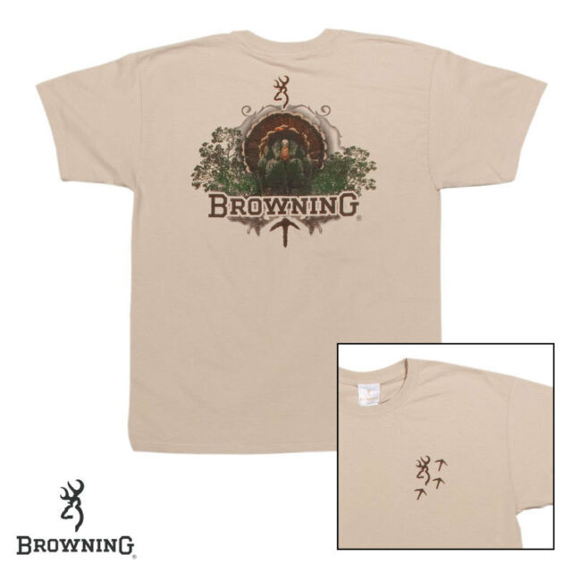 Browning Turkey Hunting T Shirt (Front & Back) - Size XL - Sand Color - NEW!