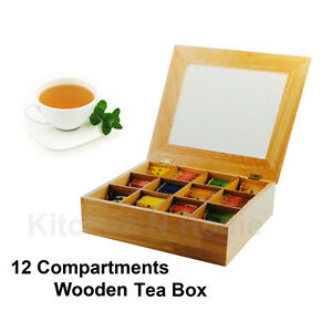 Wooden Tea BoxLarge Tea Bag Storage Box Container12Compartments