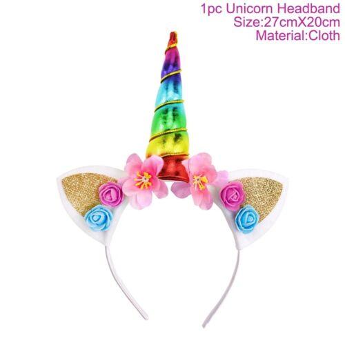 Glitter Unicorn Horn Headband Flower Ears Girl Birthday Baby Shower Party Decor