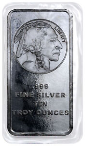 10-Troy-oz-999-Silver-Bar-American-Indian-Buffalo-Design-SKU28953