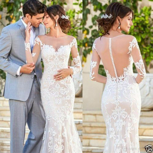 Details About 2018 Lace Wedding Dress Mermaid Long Sleeve Sheer Back Summer Bridal Gown Custom