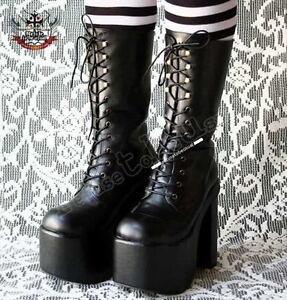 Gothic-Goth-Visual-Kei-Punk-Fetish-6-034-Platform-Calf-LaceUp-Vegan-Leather-Boot