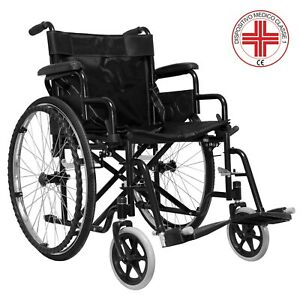Carrozzina sedia a rotelle ad autospinta per anziani disabili pieghevole comoda