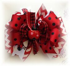 Chevron Ladybug Black & white Hair Bow Toddler/Girl Hairbow