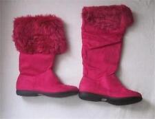 NIB Milan 44  Fuchsia Pink Suede Faux Fur Fuzzy Eskimo Tall Folding Boots sz 10