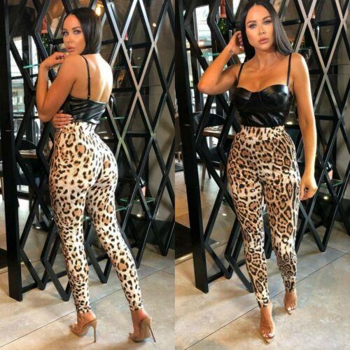 Femmes Imprimé Léopard Leggings taille haute Yoga Pantalon De Sport Entraînement Gym Pantalon