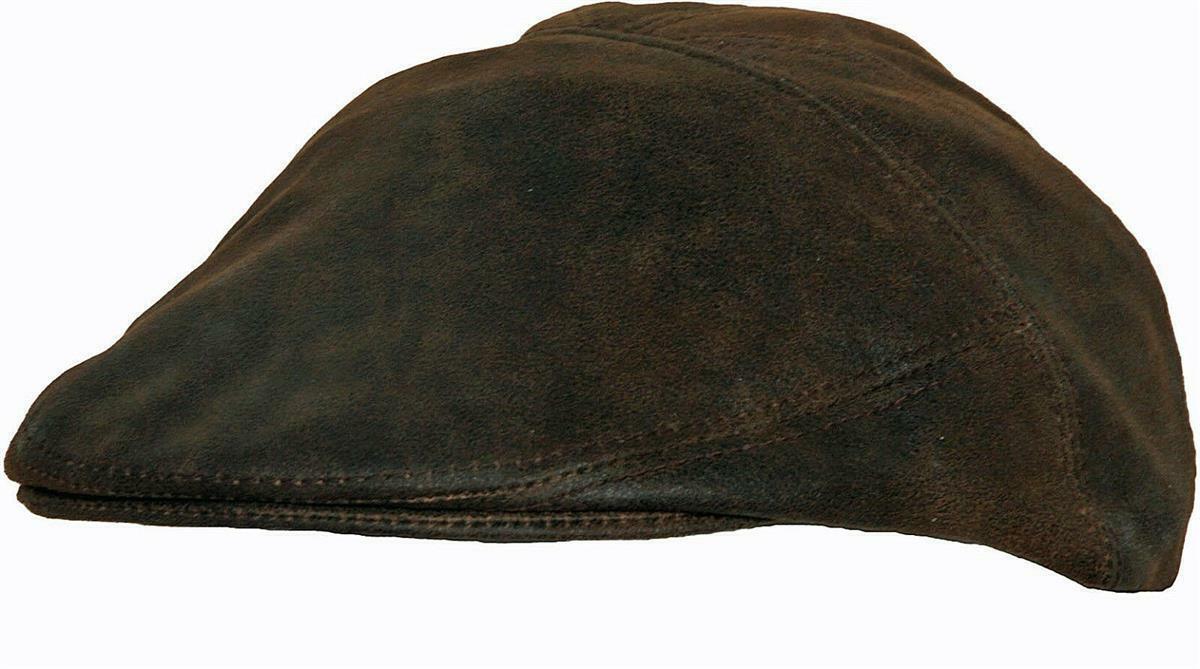 Scippis Oxford Cap Schiebermütze Leder Flatcap Braun Schirmmütze Unisex S-XL