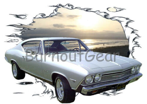 1968 Silver Chevy Chevelle Custom Hot Rod Sun Set T-Shirt 68 Muscle Car Tees