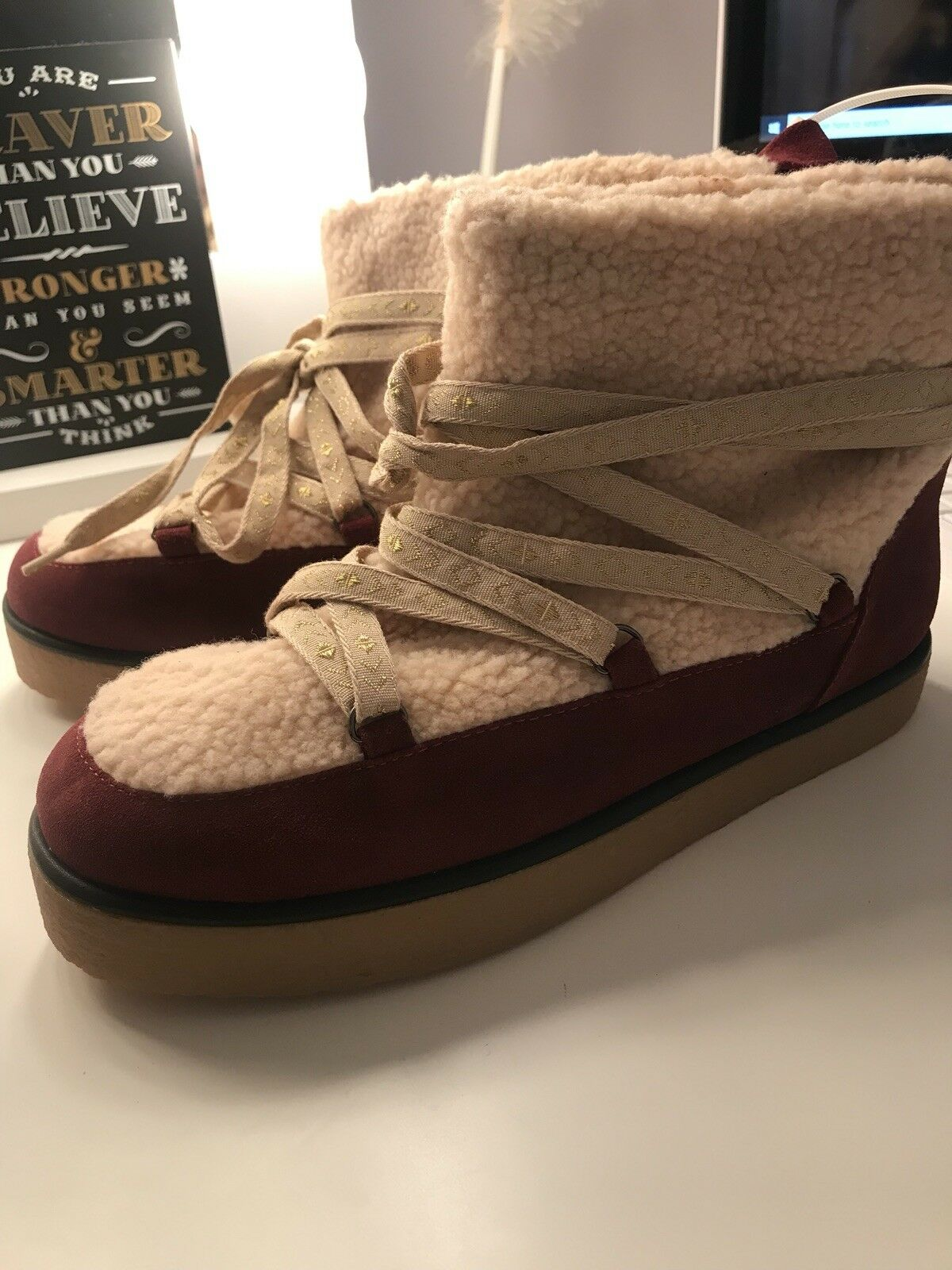 New HOUSE OF HARLOW SADIE PULL-ON WINTER SNOW Leather shearling ALPINE BOOTS 7.5