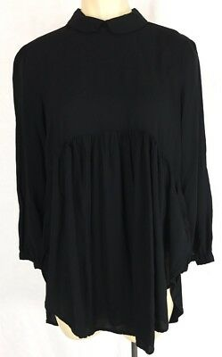 Cooperative Black Long Sleeve Witch Gothic Babydoll Blouse Sz Xs K942